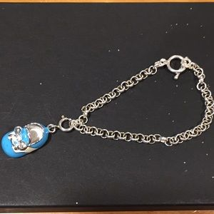 Jewelry - Blue baby bootie charm and bracelet